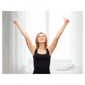Woman with Hands in Air and Thumbs Up